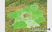 Political Shades Map of Středočeský kraj, satellite outside