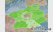 Political Shades Map of Středočeský kraj, semi-desaturated