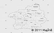 Silver Style Map of Středočeský kraj, single color outside