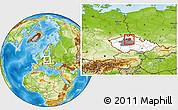 Physical Location Map of Mladá Boleslav, highlighted country, highlighted parent region