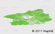 Political Shades Panoramic Map of Středočeský kraj, cropped outside