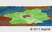 Political Shades Panoramic Map of Středočeský kraj, darken