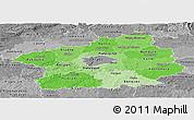 Political Shades Panoramic Map of Středočeský kraj, desaturated