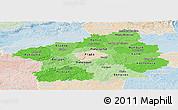 Political Shades Panoramic Map of Středočeský kraj, lighten