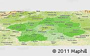 Political Shades Panoramic Map of Středočeský kraj, physical outside