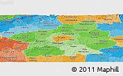 Political Shades Panoramic Map of Středočeský kraj
