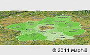Political Shades Panoramic Map of Středočeský kraj, satellite outside