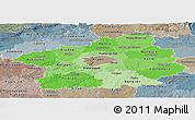 Political Shades Panoramic Map of Středočeský kraj, semi-desaturated