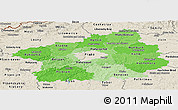 Political Shades Panoramic Map of Středočeský kraj, shaded relief outside