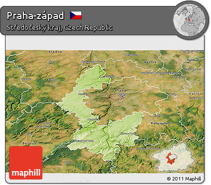 Physical 3D Map of Praha-západ, satellite outside