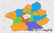 Political Simple Map of Středočeský kraj, cropped outside