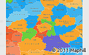 Political Simple Map of Středočeský kraj, political shades outside