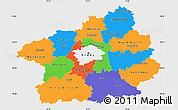 Political Simple Map of Středočeský kraj, single color outside