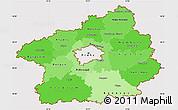 Political Shades Simple Map of Středočeský kraj, cropped outside