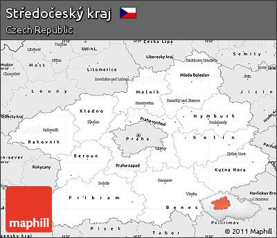 Silver Style Simple Map of Středočeský Kraj