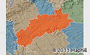 Political Map of Louny, semi-desaturated