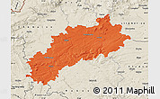 Political Map of Louny, shaded relief outside