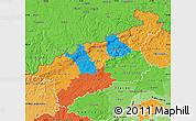 Political Map of Ústecký kraj, political shades outside