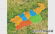 Political Map of Ústecký kraj, satellite outside