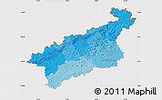 Political Shades Map of Ústecký kraj, cropped outside