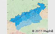 Political Shades Map of Ústecký kraj, lighten