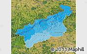 Political Shades Map of Ústecký kraj, satellite outside