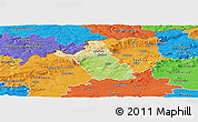Physical Panoramic Map of Most, political outside