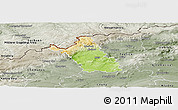 Physical Panoramic Map of Most, semi-desaturated