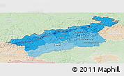 Political Shades Panoramic Map of Ústecký kraj, lighten