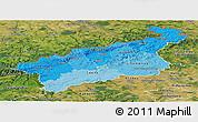 Political Shades Panoramic Map of Ústecký kraj, satellite outside