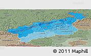 Political Shades Panoramic Map of Ústecký kraj, semi-desaturated