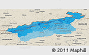 Political Shades Panoramic Map of Ústecký kraj, shaded relief outside