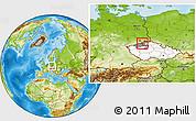 Physical Location Map of Ústí n.L., highlighted country, highlighted parent region