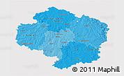 Political Shades 3D Map of Vysočina, cropped outside
