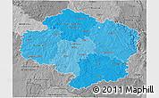 Political Shades 3D Map of Vysočina, desaturated