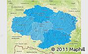 Political Shades 3D Map of Vysočina, physical outside