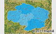 Political Shades 3D Map of Vysočina, satellite outside