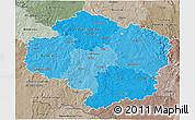 Political Shades 3D Map of Vysočina, semi-desaturated