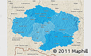Political Shades 3D Map of Vysočina, shaded relief outside