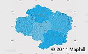 Political Shades Map of Vysočina, cropped outside