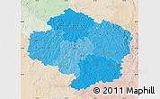 Political Shades Map of Vysočina, lighten