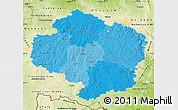 Political Shades Map of Vysočina, physical outside