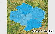 Political Shades Map of Vysočina, satellite outside