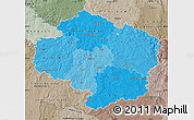Political Shades Map of Vysočina, semi-desaturated
