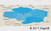 Political Shades Panoramic Map of Vysočina, shaded relief outside