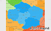 Political Shades Simple Map of Vysočina