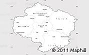 Silver Style Simple Map of Vysočina, cropped outside