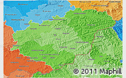 Political Shades 3D Map of Zlínský kraj