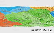 Political Shades Panoramic Map of Zlínský kraj