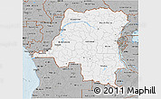 Gray 3D Map of Democratic Republic of the Congo